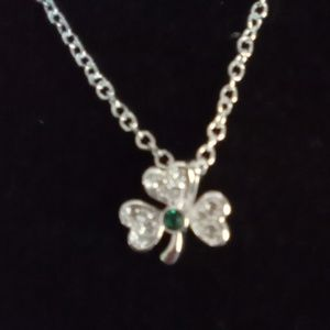 Dainty NVC Silver Rhinestone Clover Necklace.